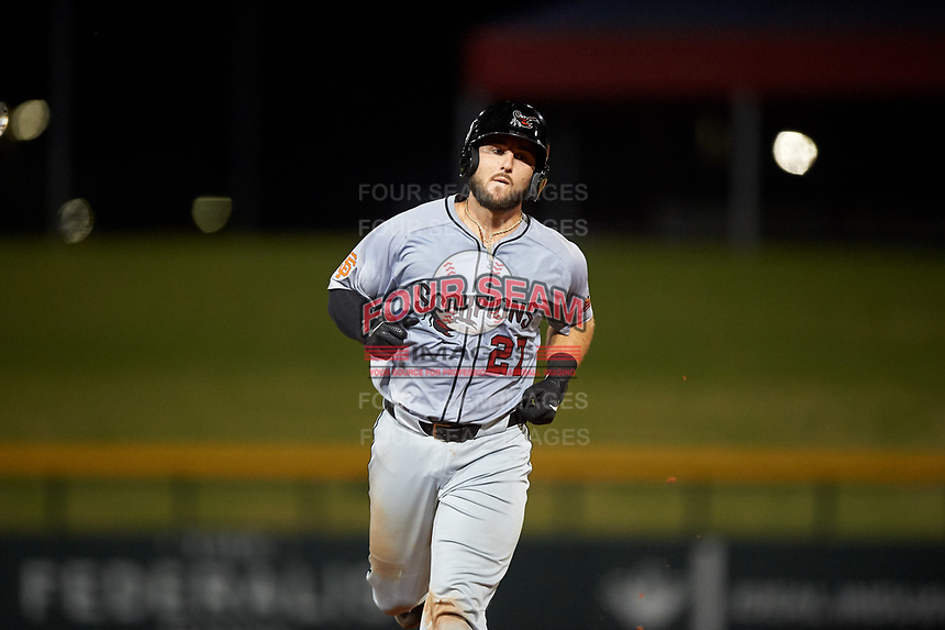 Scottsdale Scorpions Joey Bart (27), of the San Francisco Giants organization, rounds the bases after hitting his second home run of the game during an Arizona Fall League game against the Mesa Solar Sox on September 18, 2019 at Sloan Park in Mesa, Arizona. Scottsdale defeated Mesa 5-4. (Zachary Lucy/Four Seam Images)