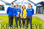 Students Eamon Nolan, Kevin Lenihan and teacher Cait McEllistrim. James McDonald from the Castleisland Community College received the National Garda Youth Achievement Award at the weekend,