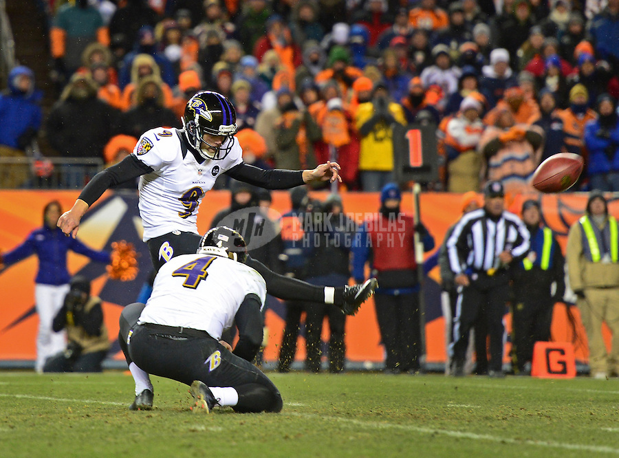 Jan 12, 2013; Denver, CO, USA; Baltimore Ravens kicker Justin Tucker (9) against the Denver Broncos during the AFC divisional round playoff game at Sports Authority Field.  Mandatory Credit: Mark J. Rebilas-