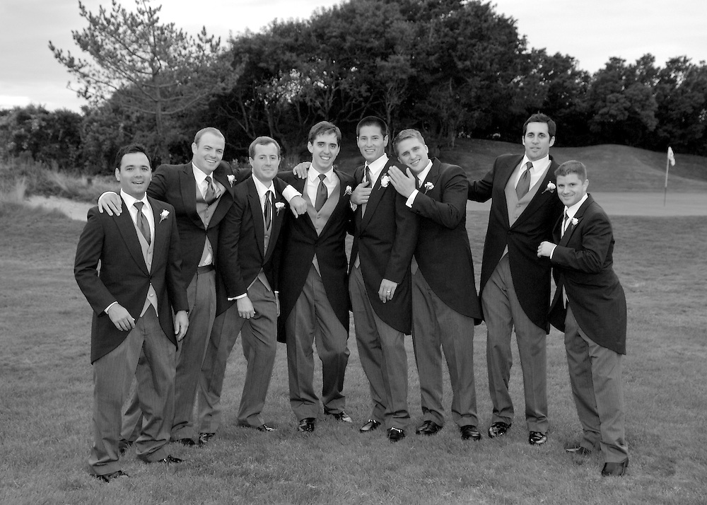 Group photo of groomsmen on the golf course at The Maidstone Club, East Hampton, NY