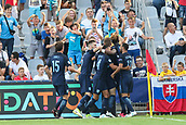June 19th 2017, Kielce, Poland; UEFA European U-21 football championships, England versus Slovakia; Alfie Mawson (ENG) scores and has a goal celebration   with team mates for the equaliser in the 50th minute (1-1)