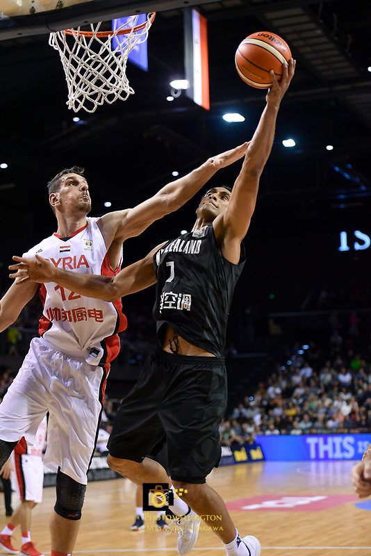 New Zealand Tall Blacks' Mika Vukona and Syria's Abdulwahab Alhamwi in action during the FIBA World Cup Basketball Qualifier - NZ Tall Blacks v Syria at TSB Bank Arena, Wellington, New Zealand on Sunday 2 2018. <br /> Photo by Masanori Udagawa. <br /> www.photowellington.photoshelter.com