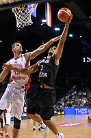 New Zealand Tall Blacks&rsquo; Mika Vukona and Syria&rsquo;s Abdulwahab Alhamwi in action during the FIBA World Cup Basketball Qualifier - NZ Tall Blacks v Syria at TSB Bank Arena, Wellington, New Zealand on Sunday 2 2018. <br /> Photo by Masanori Udagawa. <br /> www.photowellington.photoshelter.com