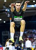 2nd February 2019, Karlsruhe, Germany;  Long Jump Men: Winner Thobias Nilsson Montler (SWE). IAAF Indoor athletics meeting, Karlsruhe