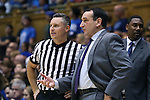 04 November 2016: Duke head coach Mike Krzyzewski (right) talks to official Justin Porterfield (left). The Duke University Blue Devils hosted the Augustana University Vikings at Cameron Indoor Stadium in Durham, North Carolina in a 2016-17 NCAA Division I Men's Basketball exhibition game.