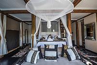 Africa, Botswana, Khwai, The Lodge, Feline Fields, edge of the Kalahari desert. Bedroom.