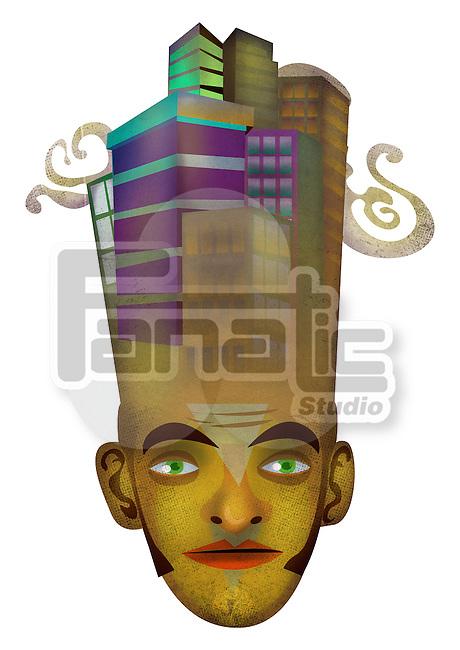 Illustration of money minded businessman over white background