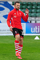 Lincoln City's Neal Eardley during the pre-match warm-up<br /> <br /> Photographer Andrew Vaughan/CameraSport<br /> <br /> The EFL Sky Bet League Two - Lincoln City v Crewe Alexandra - Saturday 6th October 2018 - Sincil Bank - Lincoln<br /> <br /> World Copyright &copy; 2018 CameraSport. All rights reserved. 43 Linden Ave. Countesthorpe. Leicester. England. LE8 5PG - Tel: +44 (0) 116 277 4147 - admin@camerasport.com - www.camerasport.com