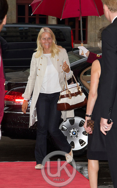 Crown Princess Mette Marit of Norway on a three day visit to Vienna to attend the 18th International UNAIDS Conference..Arrives at The Hotel Sacher in Vienna