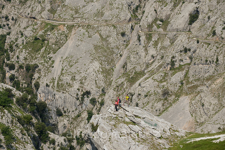 Trekkers walks the trail through the Cares Gorge, Picos de Europa National Park, Leon, Asturias, Spain