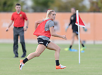 Houston, TX - Thursday Oct. 06, 2016: Abigail Dahlkemper during training prior to the National Women's Soccer League (NWSL) Championship match between the Washington Spirit and the Western New York Flash at BBVA Compass Stadium.