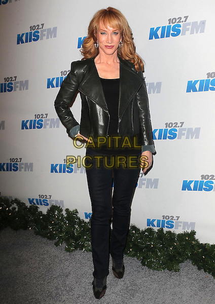 Kathy Griffin.KIIS FM 2012 Jingle Ball - Night 2 held at Nokia Theatre L.A. Live, Los Angeles, California, USA..3rd December 2012 .full length black leather jacket hand on hip top jeans denim.CAP/ADM/KB.©Kevan Brooks/AdMedia/Capital Pictures.