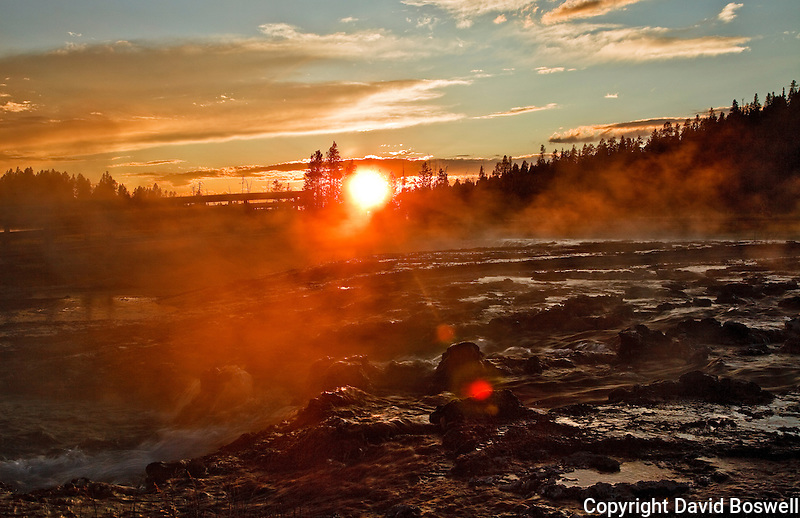 Sunset near Firehole Lake in the Lower Geyser Basin of Yellowstone National Park.