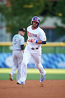 Buffalo Bisons first baseman Chris Colabello (41), on rehab assignment from the Toronto Blue Jays, runs the bases after hitting a home run in the bottom of the first inning during a game against the Norfolk Tides on July 18, 2016 at Coca-Cola Field in Buffalo, New York.  Norfolk defeated Buffalo 11-8.  (Mike Janes/Four Seam Images)