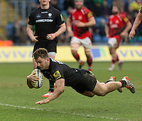 28.02.2015.  Oxford, England.  Aviva Premiership. London Welsh versus London Irish.   Alex Lewington scores to wrap up victory for London Irish.