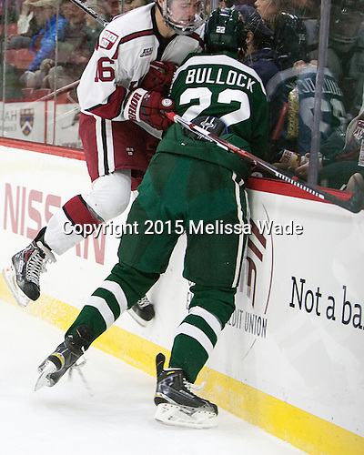 Ryan Donato (Harvard - 16), Ryan Bullock (Dartmouth - 22) - The Harvard University Crimson defeated the Dartmouth College Big Green 5-2 to sweep their weekend series on Sunday, November 1, 2015, at Bright-Landry Hockey Center in Boston, Massachusetts. -