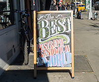 A delicatessen in New York proudly proclaims it has the best pastrami in the world on Tuesday, February 2, 2016.  (© Richard B. Levine)