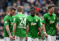FUSSBALL   1. BUNDESLIGA   SAISON 2012/2013    28. SPIELTAG SV Werder Bremen - FC Schalke 04                          06.04.2013 Marko Arnautovic, Nils Petersen, Assani Lukimya und Sebastian Proedl (v.l., alle SV Werder Bremen) sind enttaeuscht