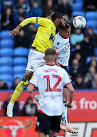 Bolton Wanderers' Joe Williams competing with Blackburn Rovers' Kasey Palmer<br /> <br /> Photographer Andrew Kearns/CameraSport<br /> <br /> The EFL Sky Bet Championship - Bolton Wanderers v Blackburn Rovers - Saturday 6th October 2018 - University of Bolton Stadium - Bolton<br /> <br /> World Copyright &copy; 2018 CameraSport. All rights reserved. 43 Linden Ave. Countesthorpe. Leicester. England. LE8 5PG - Tel: +44 (0) 116 277 4147 - admin@camerasport.com - www.camerasport.com