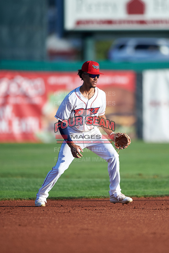 Orem Owlz shortstop Jeremiah Jackson (23) during a Pioneer League game against the Idaho Falls Chukars at The Home of the OWLZ on August 13, 2019 in Orem, Utah. Orem defeated Idaho Falls 3-1. (Zachary Lucy/Four Seam Images)