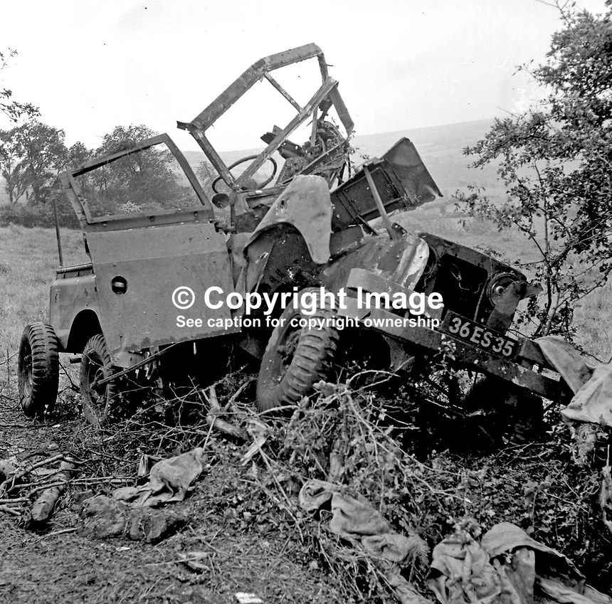 Landrover in which 3 British soldiers died and several were seriously injured as the result of an IRA explosion near Dungiven, Co Londonderry, N Ireland, UK, on 24 June 1972.  197206240380.<br />