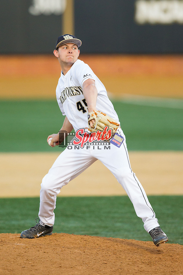 Wake Forest Demon Deacons relief pitcher John McCarren (45) in action against the High Point Panthers at Wake Forest Baseball Park on April 2, 2014 in Winston-Salem, North Carolina.  The Demon Deacons defeated the Panthers 10-6.  (Brian Westerholt/Sports On Film)