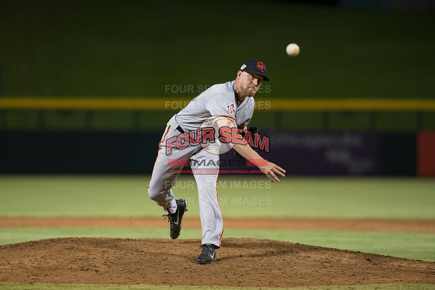 Scottsdale Scorpions relief pitcher Sam Wolff (56), of the San Francisco Giants organization, delivers a pitch during an Arizona Fall League game against the Mesa Solar Sox at Sloan Park on October 10, 2018 in Mesa, Arizona. Scottsdale defeated Mesa 10-3. (Zachary Lucy/Four Seam Images)