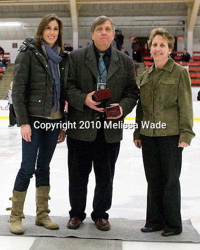 Jen Buckley (BC), Joe Bertagna, ? - The Harvard University Crimson defeated the Boston College Eagles 5-0 in their Beanpot semi-final game on Tuesday, February 2, 2010 at the Bright Hockey Center in Cambridge, Massachusetts.