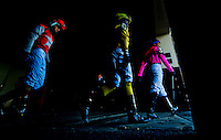 NEW YORK, NY - MARCH 04: Jockeys head to the paddock before a race on Gotham Stakes Day at Aqueduct Racetrack on March 4, 2017 in the Ozone Park neighborhood of New York, New York. (Photo by Scott Serio/Eclipse Sportswire/Getty Images)