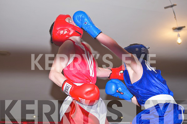 RED: Seanie Ryan, Trojan Boxing Club, Listowel and BLUE: Dean Griffin, Shadows Boxing Club, Killarney.