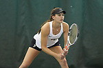 Mary Caroline Meredith of the Wake Forest Demon Deacons during the match against the Liberty Flames at the Wake Forest Indoor Tennis Center on March 11, 2017 in Winston-Salem, North Carolina. The Demon Deacons defeated the Flames 7-0.  (Brian Westerholt/Sports On Film)