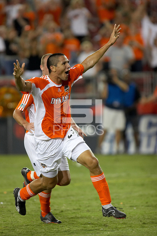 Houston Dynamo forward Brian Ching celebrates his game winning goal. Houston Dynamo beat DC United 1-0 at Robertson Stadium in Houston, TX on September 30, 2006.