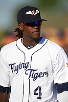 Lakeland Flying Tigers center fielder Cameron Maybin (4), on rehab assignment from the Detroit Tigers, during introductions before a game against the Tampa Yankees on April 7, 2016 at Henley Field in Lakeland, Florida.  Tampa defeated Lakeland 9-2.  (Mike Janes/Four Seam Images)