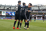 Real Madrid's Alvaro Morata, Marco Asensio and Marcelo Vieira celebrate goal during La Liga match. August 21,2016. (ALTERPHOTOS/Acero)