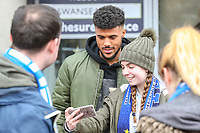 Huddersfield Town fans pose for a picture with Steve Mounie<br /> <br /> Photographer Alex Dodd/CameraSport<br /> <br /> The Premier League - Huddersfield Town v Swansea City - Saturday 10th March 2018 - John Smith's Stadium - Huddersfield<br /> <br /> World Copyright &copy; 2018 CameraSport. All rights reserved. 43 Linden Ave. Countesthorpe. Leicester. England. LE8 5PG - Tel: +44 (0) 116 277 4147 - admin@camerasport.com - www.camerasport.com