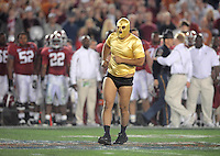 Jan 7, 2010; Pasadena, CA, USA; A fan runs out on the field during the game between the Texas Longhorns against the Alabama Crimson Tide during the 2010 BCS national championship game at the Rose Bowl. Alabama defeated Texas 37-21. Mandatory Credit: Mark J. Rebilas-.