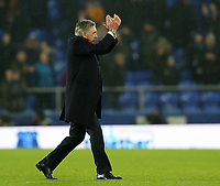 26th December 2019; Goodison Park, Liverpool, Merseyside, England; English Premier League Football, Everton versus Burnley; Everton Manager Carlo Ancelotti applauds the home supporters as he walks from the pitch after the final whistle - Strictly Editorial Use Only. No use with unauthorized audio, video, data, fixture lists, club/league logos or 'live' services. Online in-match use limited to 120 images, no video emulation. No use in betting, games or single club/league/player publications