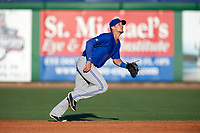 Dunedin Blue Jays second baseman Cavan Biggio (4) tracks a pop up during a game against the Clearwater Threshers on April 7, 2017 at Spectrum Field in Clearwater, Florida.  Dunedin defeated Clearwater 7-4.  (Mike Janes/Four Seam Images)