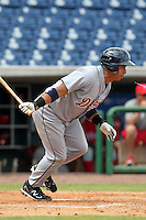 Detroit Tigers second baseman Carlos Guillen #51 grounds out to second during an Instructional League game against the Philadelphia Phillies at Bright House Field on October 10, 2011 in Clearwater, Florida.  Guillen is rehabbing in the fall league for a strained right calf finishing 0-3 as designated hitter.  (Mike Janes/Four Seam Images)