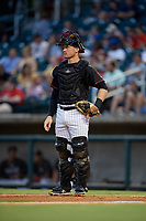 Birmingham Barons catcher Nate Nolan (19) during a Southern League game against the Chattanooga Lookouts on July 24, 2019 at Regions Field in Birmingham, Alabama.  Chattanooga defeated Birmingham 9-1.  (Mike Janes/Four Seam Images)