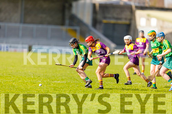 Rachel McCarthy of Kerry and Anais Curran of Wexford tussle for possession, in the National Camogie league Division 2 game, in Austin Stack Park on Sunday