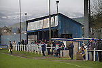 Glossop North End supporters watching the action as their club play Barnoldswick Town in the Vodkat North West Counties League premier division at the Surrey Street ground, with the main stand pictured. The visitors won the match by one goal to nil watched by a crowd of 203 spectators. Glossop North End celebrated their 125th anniversary in 2011 and were once members of the Football League in England, spending one season in the top division in 1899-00.