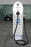 July 13, 2010 - Yokohama, Japan - An electric vehicle charging dock is pictured at Nissan Global Headquarters in Yokohama, Japan, on Tuesday, July 13, 2010.