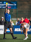 KANSAS CITY, MO - DECEMBER 02:  Jaidyn Zapf (26) of Carson-Newman University receives a yellow card after a tripping foul during the Division II Women's Soccer Championship held at the Swope Soccer Village on December 2, 2017 in Kansas City, Missouri. (Photo by Doug Stroud/NCAA Photos/NCAA Photos via Getty Images)
