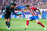 Fernando Torres (r) of Atletico de Madrid fights for the ball with Raphael Varane (l) of Real Madrid during their 2016-17 UEFA Champions League Semifinals 2nd leg match between Atletico de Madrid and Real Madrid at the Estadio Vicente Calderon on 10 May 2017 in Madrid, Spain. Photo by Diego Gonzalez Souto / Power Sport Images