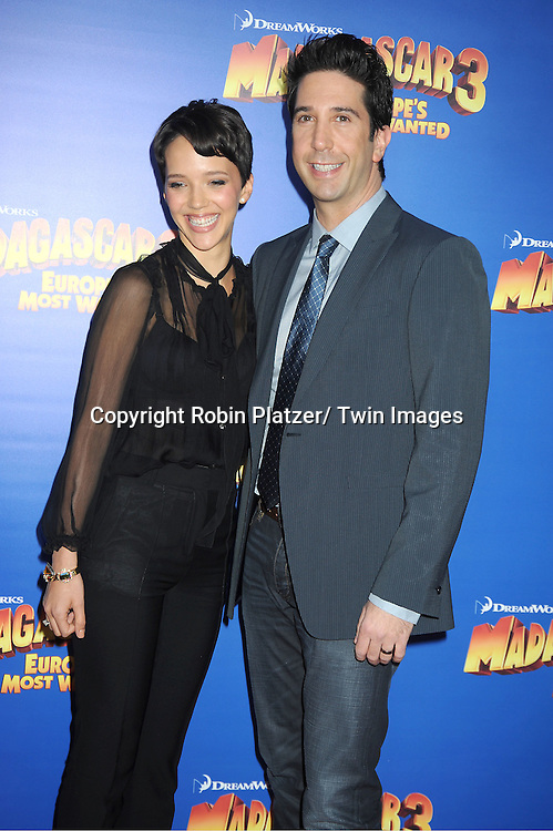 "David Schwimmer and wife Zoe Buckman attend the ""Madagascar 3:  Europe's Most Wanted""  New York Premiere on June 7, 2012 at The Ziegfeld Theatre in New York City."
