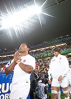Rugby World Cup Auckland  England v France  Quarter Final 2 - 08/10/2011.MANU TUILAGI  (England) takes the field .Photo Frey Fotosports International/AMN Images