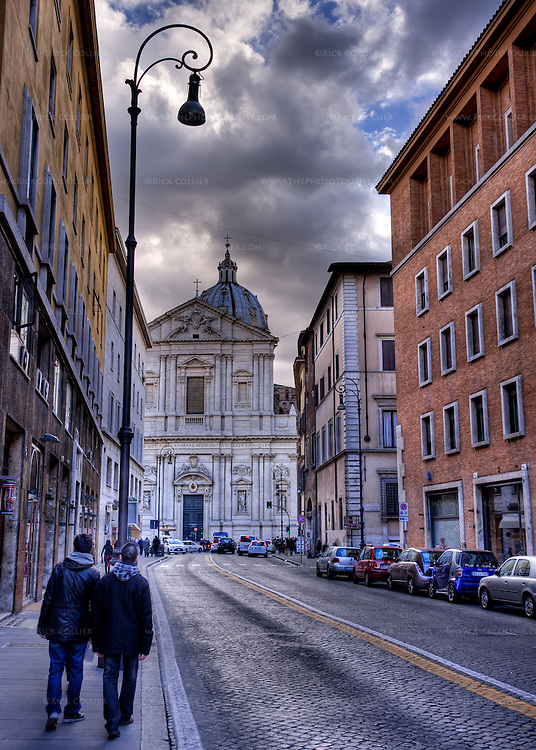 The Church of Sant'Andrea della Valle stands over the end of the Corso del Rinascimento in the heart of Rome, Italy. (HDR image)