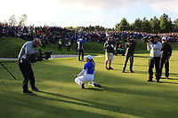 Bronte Law (EUR) the moment Team Europe won the Solheim Cup 2019, Gleneagles Golf CLub, Auchterarder, Perthshire, Scotland. 15/09/2019.<br /> Picture Thos Caffrey / Golffile.ie<br /> <br /> All photo usage must carry mandatory copyright credit (© Golffile | Thos Caffrey)