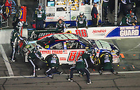 Feb 9, 2008; Daytona, FL, USA; Nascar Sprint Cup Series driver Dale Earnhardt Jr (88) pits during the Bud Shootout at Daytona International Speedway. Mandatory Credit: Mark J. Rebilas-US PRESSWIRE